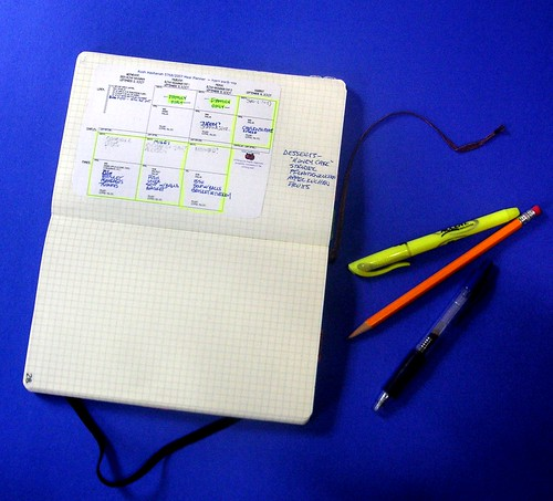 photo of the Rosh Hashanah planner in use, pasted into a Moleskine notebook