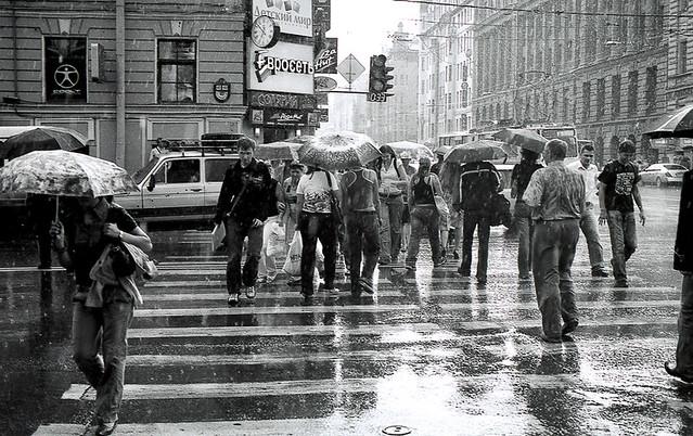Rainy foot-passengers