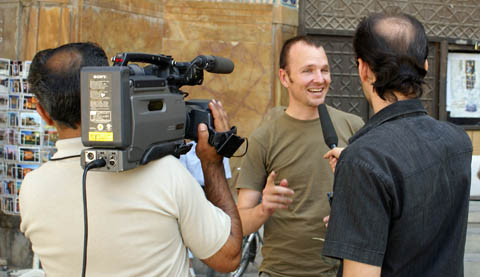 andrew being interviewed by iranian tv