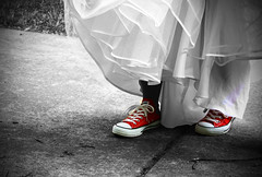 I lace my Chucks, I walk the aisle. (_LauraJane_) Tags: school red feet grass shoe high shoes dress pavement centralpark prom converse ashlandky chucks laces chucktaylors 2010 selectivecolor ironton
