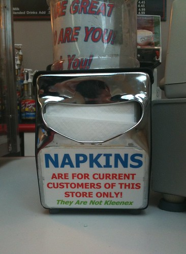 NAPKINS are for current customers of this store only! They Are Not Kleenex