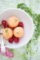 peach, basil and lemon thyme sorbet (cannelle-vanille) Tags: summer peach basil sorbet lemonthyme poachedraspberries aweekoffrozentreats