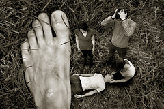 Oh No! (Kyle Fulton) Tags: hairy fall grass sepia giant dead effects foot scary funny village sad magic crying warts depressed duotone drama shotoshop