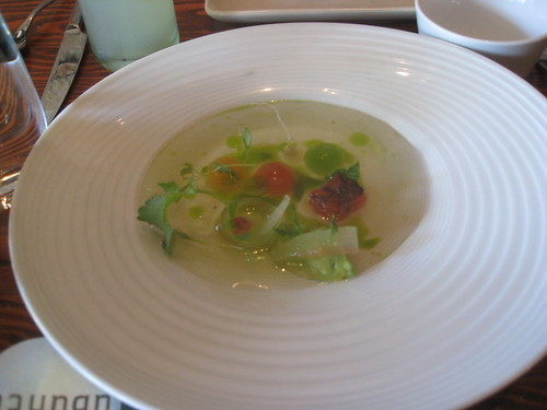 Ubuntu - Napa, California - Clear Cantoloupe and Sage Gazpacho, Conpressed and Blackened Melon