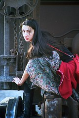 Black Gypsy Climbs Train 1 (neohypofilms) Tags: railroad urban slr film girl metal female train 35mm hair landscape long track industrial steel candid tracks trains skirt ukraine hippie casual russian gypsy drifter