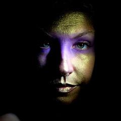 46/52 (Katrina Katrish) Tags: light portrait face bike self gold eyes purple weeks 52