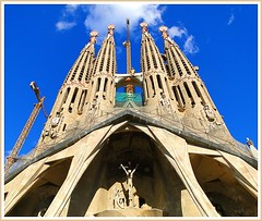 Barcelona architecture - La Sagrada Familia, now basilica. (jackfre2) Tags: barcelona church spain cathedral basilica gaudi catalunya sagradafamilia antonigaudi expiatorychurch franciscodepauladelvillar