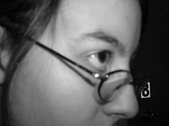 day 5: black eyes (darkredbeloved) Tags: blackandwhite selfportrait self glasses eyes 365 sideview vain 365days