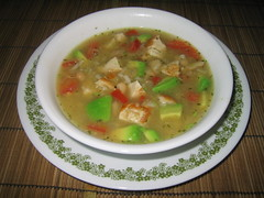 Southwestern Chicken Soup (Ryan Hadley) Tags: seattle food usa macro chicken cooking dinner tomato soup avocado washington beans rice chickensoup greatnorthernbeans southwesternchickensoup