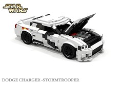 Dodge Charger SRT HellCat - STARWARS StormTrooper (lego911) Tags: auto storm trooper film car sedan movie star starwars model lego render 98 stormtrooper dodge wars chrysler challenge charger cad lugnuts fca hellcat povray srt moc ldd 2015 miniland lego911 theforceawakens thestarwarsawakens