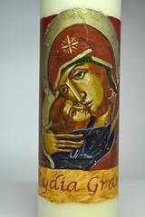 DSC_0863 (Mike Quirke Icon Art) Tags: candle icon virginmary motherandchild baptismalcandle motherofmercy virginoftenderness eleusaicon