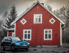 Red house blue car (Magnus - Mern) Tags: blue red bw white black photoshop flickr creative reflction inception beuatiful