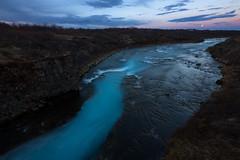 Downstream from Bruarfoss, Iceland (B.E.K.) Tags: longexposure blue sunset sky moon water river landscape iceland moonrise bruara bruarfoss