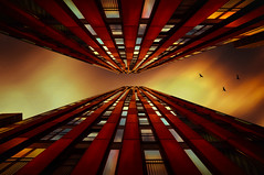 Looking Up! (radonracer) Tags: city sky up birds fantasy digiart architektur hochhaus