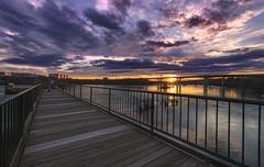 Brown's Island Sunset (Joey Wharton) Tags: bridge sunset sky water weather skyline clouds river outdoors evening virginia richmond va rva
