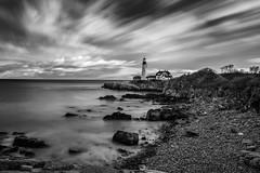 Portland Head Light, Maine (Saptashaw Chakraborty) Tags: longexposure blackandwhite bw usa lighthouse monochrome portland maine atlantic nd slowshutter headlight haida neutraldensity