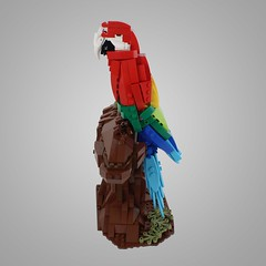 The Scarlet's Perch (jamesuniverse) Tags: wild tree bird nature forest scarlet rainbow model lego scuplture jungle perch macaw