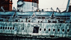 Life boats on a Dead Ship! (ovington.kevin) Tags: life old neglect river boat rust ship stack maritime porthole hull float middlesbrough tees