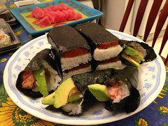 Homemade Tuna Hand Rolls and Spam Musubi (Foggy Bear) Tags: food dinner sushi ttown