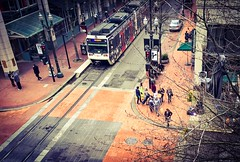 Above The Boulevard (TMimages PDX) Tags: road street city people urban buildings portland geotagged photography photo image streetphotography streetscene sidewalk photograph pedestrians pacificnorthwest avenue vignette fineartphotography iphoneography