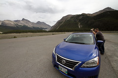 Heading to Sunwapta Pass (AmandaMT) Tags: trip blue chris mountain canada water beauty car nationalpark jasper skies nissan vibrant pass august alberta banff wilderness sentra mountains road trip sunwapta parkway august rocky sunwaptapass icefields 2015