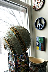 Let it snow! (EarthMotherMosaics) Tags: flowers cats moon mosaics stainedglass letitsnow vases snowday midcenturymodern gazingball earthmothermosaics