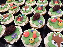 Woodland cupcakes (Victorious_Sponge) Tags: party kids woodland cupcakes caterpillar fox owl hedgehog