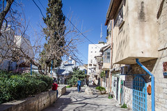 Shabbat Stroller (Allison Mickel) Tags: houses tourism israel alley nikon edited jerusalem neighborhood adobe lightroom d7000