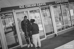 not happy.. (Ken B Gray) Tags: life city atlanta urban bw white black film monochrome analog lens grit nikon downtown noiretblanc kodak tmax iso400 candid picture streetphotography documentary style gear f100 story pancake nikkor ilford fp4 manualfocus ais hotlanta vintange