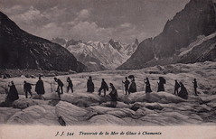 J. J. 544. Traverse de la Mer de Glace  Chamonix (c.1905) (pellethepoet) Tags: snow france mountains ice silhouette jj europe postcard glacier photograph chamonix frenchalps merdeglace chamonixvalley rhnealpes seaofice jullienfrres