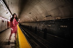 Day Tripper (ShutterJack) Tags: nyc newyork lines fashion train subway nikon track grunge perspective platform 5thavenue fifthavenue runway catwalk reddress atrain fashionweek leadinglines 53street jameshale jimhale shutterjack