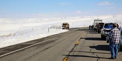 Plow Knocks down Snowmwn (wyojones) Tags: winter people snow storm cars truck waiting snowmen wyoming snowplow winterstorm lander redcanyon southpass wyojones wyoming26 southpasshighway