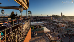 View across the Djemaa el Fna (dieLeuchtturms) Tags: sunset sonnenuntergang morocco maroc medina afrika marrakesh marokko jemaaelfna 16x9 marrakesch djemaaelfna djemaaelfnaa platzdergehngten
