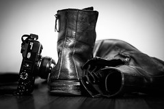It's Adventure Time (Explored) (Kenny Dong) Tags: camera wood blackandwhite bw leather digital canon boot blackwhite shoes floor boots lace adventure strap fujifilm dslr laces x10