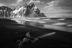 Man on Beach (Sophie Carr Photography) Tags: bw mono blacksand blackwhite iceland höfn vestrahorn stokksnes southeasticeland vesturhorn