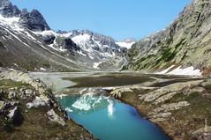 Reflexion (welenna) Tags: blue schnee summer mountain snow mountains alps reflection water landscape switzerland wasser view swiss berge bach alpen berneroberland wasserspiegel schwitzerland grimselwelt bchlital