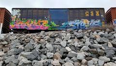 HIGH AEST STRIKE (BLACK VOMIT) Tags: 2 car train graffiti ol high box south dirty mc dos strike boxcar d30 mayhem freight wh aest aest2 mcult mayhemcru