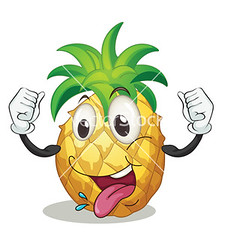 a pineapple (pineappleterrace) Tags: food face smiling yellow tongue fruit illustration mouth pose happy one 1 eyes hands funny mood hand arms graphic arm drawing expression character cartoon delicious whole whitebackground eat health pineapple single clipart strong vector facial isolated comical nutrition foodstuff