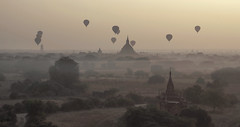 Balloons over Bagan, Myanmar (MeriMena) Tags: travel beautiful canon balloons landscape pagoda ancient asia view ngc panoramic temples myanmar bagan beautifulearth flickrsbest canon450d merimena