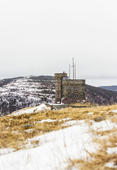 Shrinking cabot tower (gordjohnson) Tags: snow canada newfoundland view hill rocky signalhill cabottower winterspring