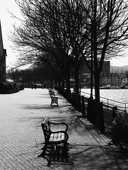 Looking West to the Underfall Yard (wi-fli) Tags: england sunshine docks bristol walking waterfront unitedkingdom harbour twopeople harbourside springtime spikeisland underfallyard