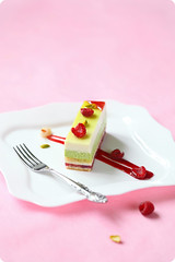 Bronte-Bianco Entremet (iuda) Tags: pink red stilllife food green cake season dessert baking spring yummy berry berries sweet chocolate pastel tasty sugar gourmet professional delicious patisserie bakery pistachio pastry raspberry luxury whitechocolate mousse lychee foodphoto layered patissier foodphotography entremet