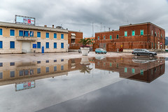 After the rain (marcovannotti) Tags: travel italy reflection water car rain clouds liguria urbanlandscape laspezia