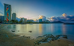 The best an amateur can do. (dinero57) Tags: ocean longexposure seascape building beach sunrise canon landscape hawaii cityscape waikiki oahu outdoor landmark lagoon honolulu doves eos5dmarkiii 5dmarkiii ef1740flusm