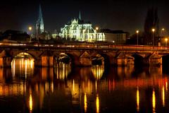 Pont Paul Bert et abbaye Saint-Germain. Auxerre (jjcordier) Tags: reflet pont saintgermain bourgogne abbaye auxerre yonne