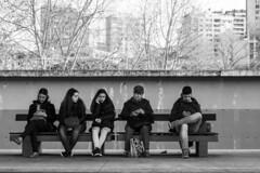 Esperando o comboio (Waiting for the train) (A. Paulo C. M. Oliveira) Tags: blackandwhite bw portugal nikon snapshot pb peoples pretoebranco gentes vilanovadegaia instantneo d3000