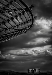 Halo (Kelly's Eye Pics) Tags: sky blackandwhite bw clouds flying artwork moody circles halo ufo lancashire rings moors saucer panopticon haslingden 1685mm pentaxk5ii