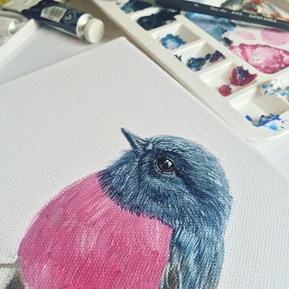 Beautiful Pink Robin by beautiful @shilpakshii 😍😍  #painting #bird #realistic #art #drawing #draw #artist #sketch #canvas #brush #acryliconcanvas
