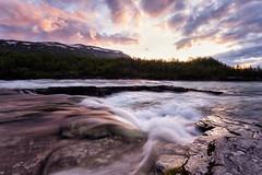 Rushing Towards the Midnight Sun (Kristin Repsher) Tags: longexposure sunset summer water nikon sweden rapids lapland d750 midnightsun abisko northernsweden abiskonationalpark swedishlapland abiskoeatnu