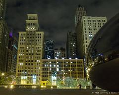 Chicago's CloudGate - The Bean - at Millenium Park 3 (Jeff Skott) Tags: november chicago skyscape illinois nightscape milleniumpark cloudgate thebean 2014
